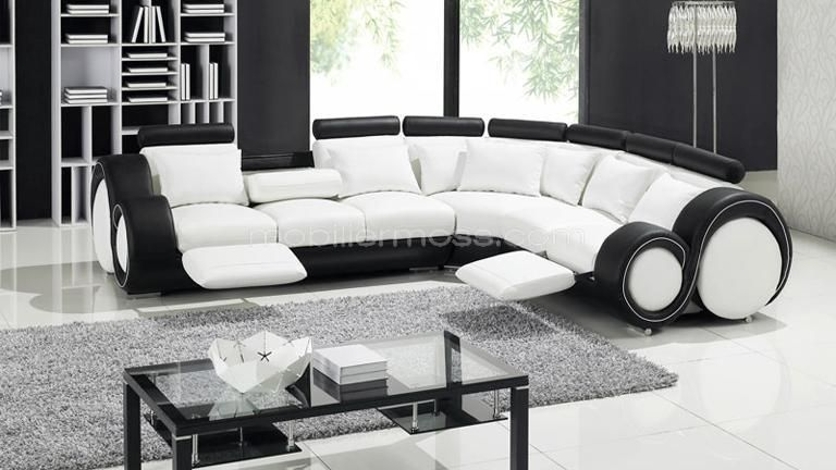 Canapé Dangle Design Relax En Cuir Pierce Mobilier - Canapé cuir noir et blanc design