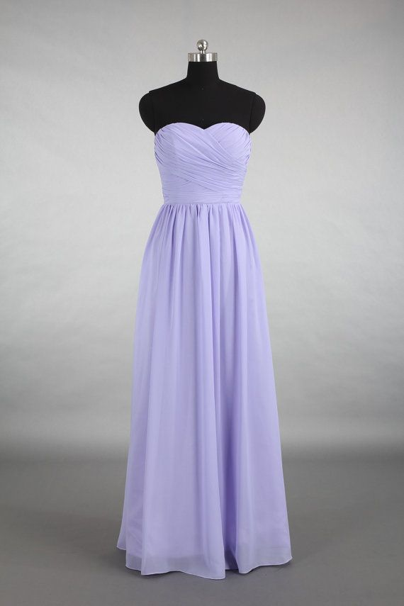 Lavender Sweetheart Bridesmaid Dress, A-line Floor-length Chiffon ...
