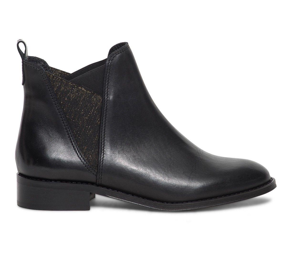 chelsea boots noir à élastiques dorés - boots / bottines