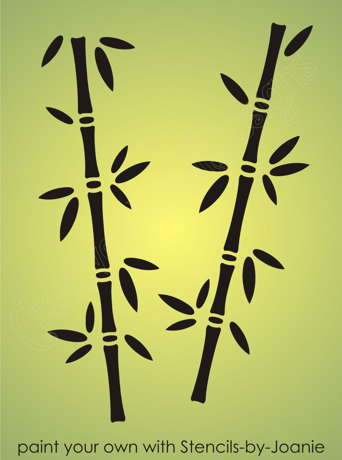 Asian Stencil Bamboo Oriental Plant Nature Botanical Border Craft ...