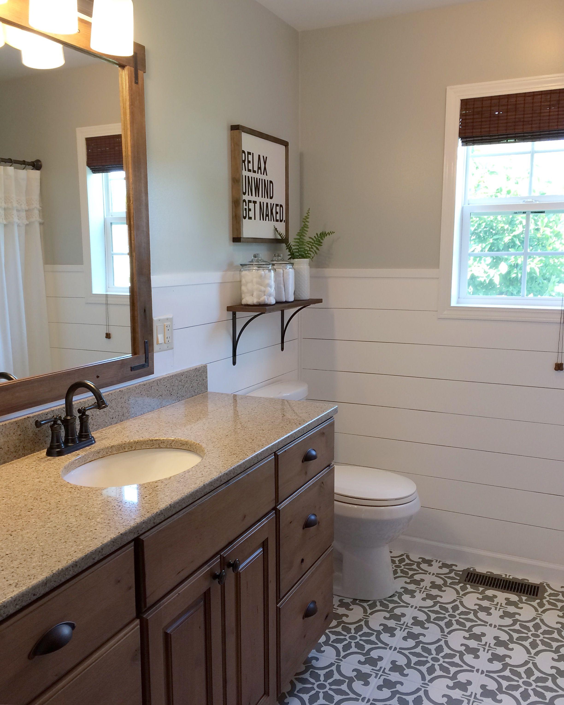 Modern Farmhouse Bathroom: Modern Farmhouse Bathroom. Rustic Mirror. Stenciled Tile