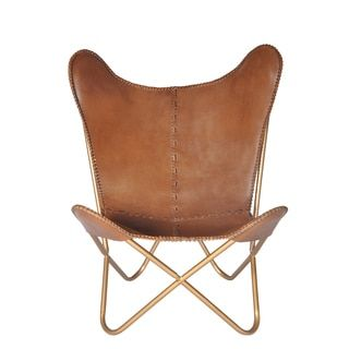 overstock com chairs black stretch chair covers for sale safari chestnut leather butterfly shopping the best deals on living room