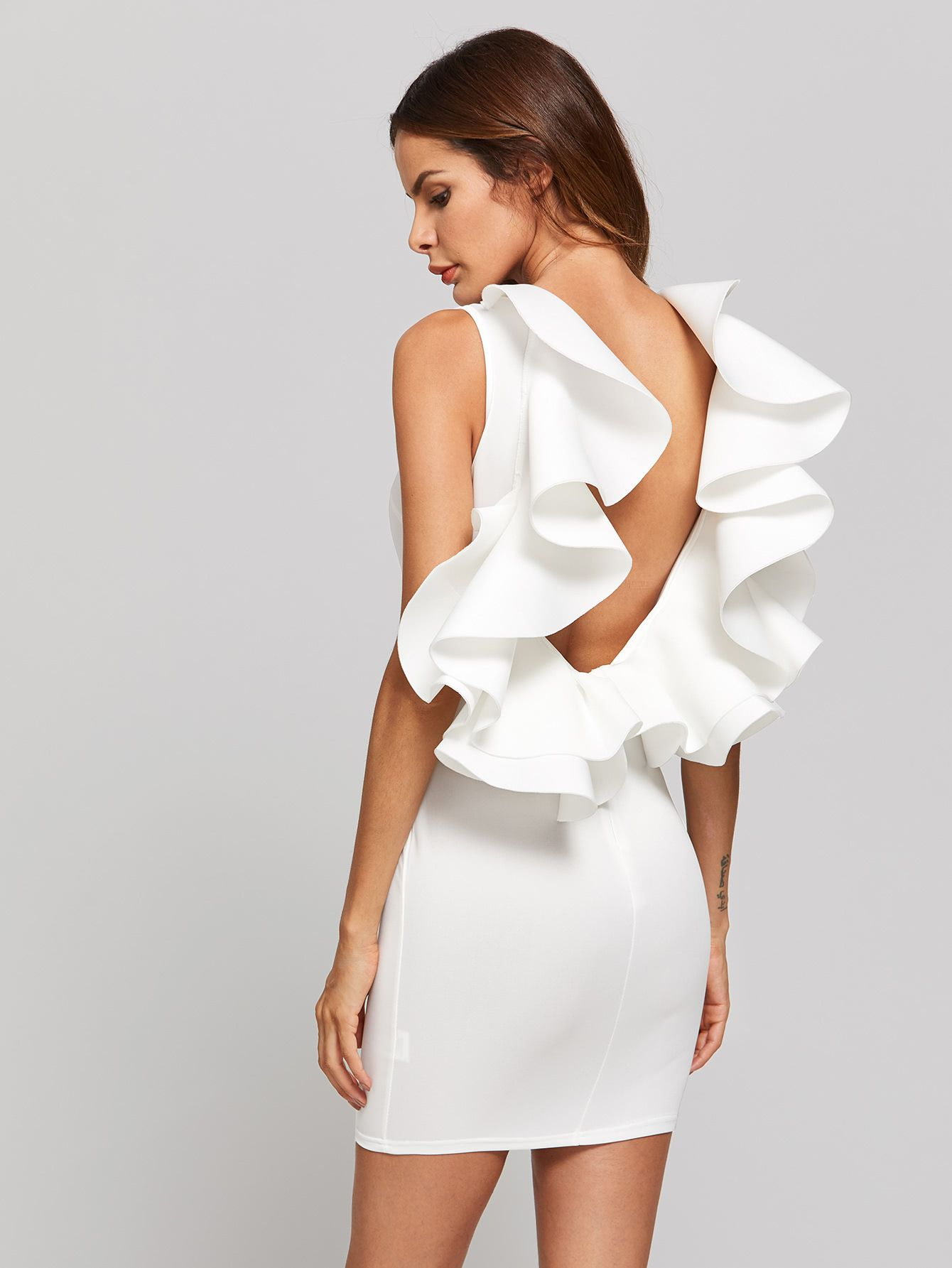 Shop Backless Bodycon Dress With Exaggerated Frill online. SheIn offers  Backless Bodycon Dress With Exaggerated Frill   more to fit your  fashionable needs. 5aaa0fdc3