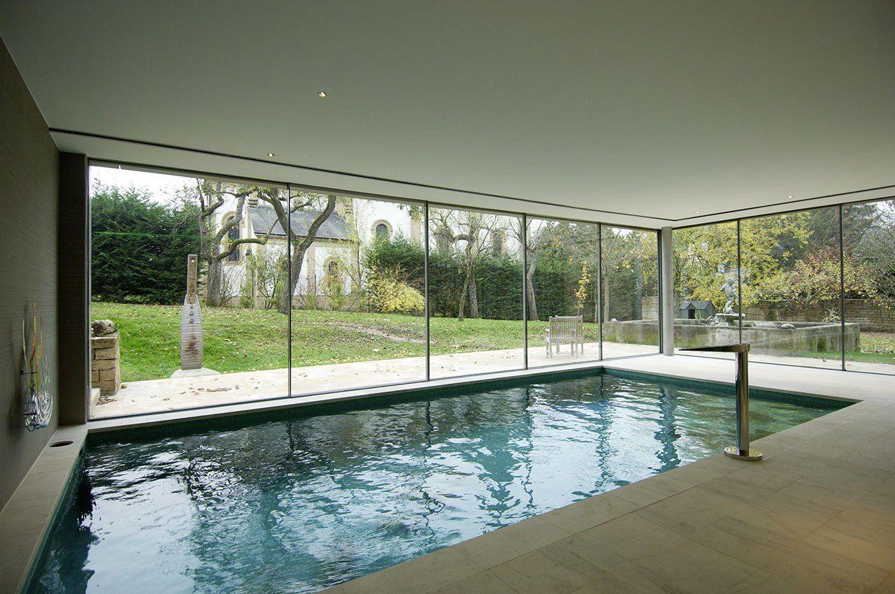 Sliding Glass Doors Used In Pool Room Indoor Swimming Pool