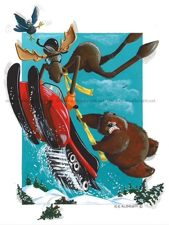 Whimsical Prints:  Moose and bear snowmobiling by BackToThe60s on Etsy