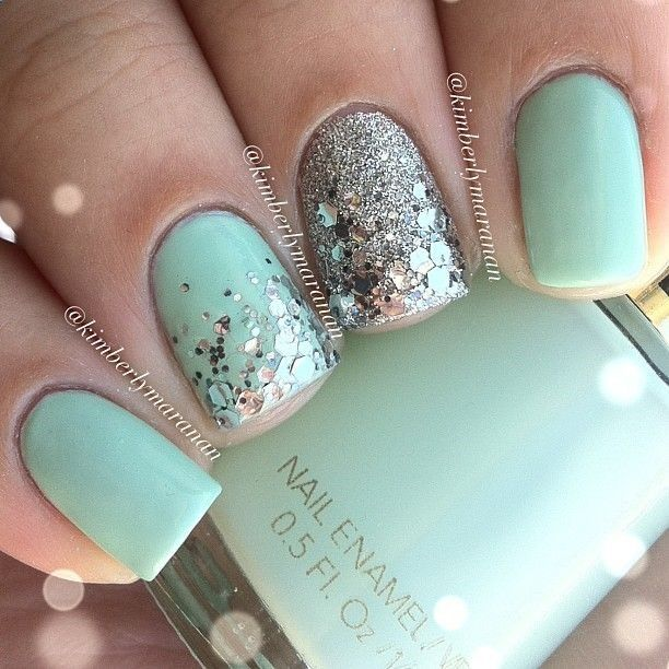 Mint green and silver nail art. #nails #nailart #nailpolish #manicure - Mint Green And Silver Nail Art. #nails #nailart #nailpolish