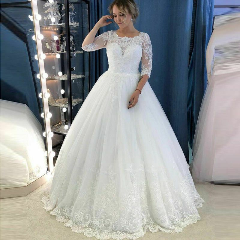 eBay Ad) Modest A-Line Wedding Dresses Half Sleeve Country ...