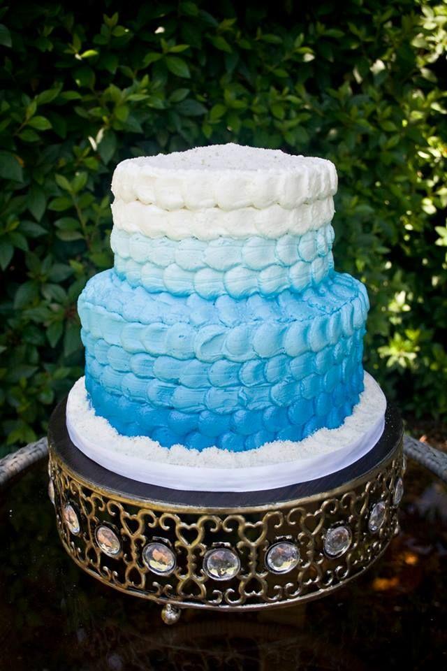 understated beach themed bridal shower cake
