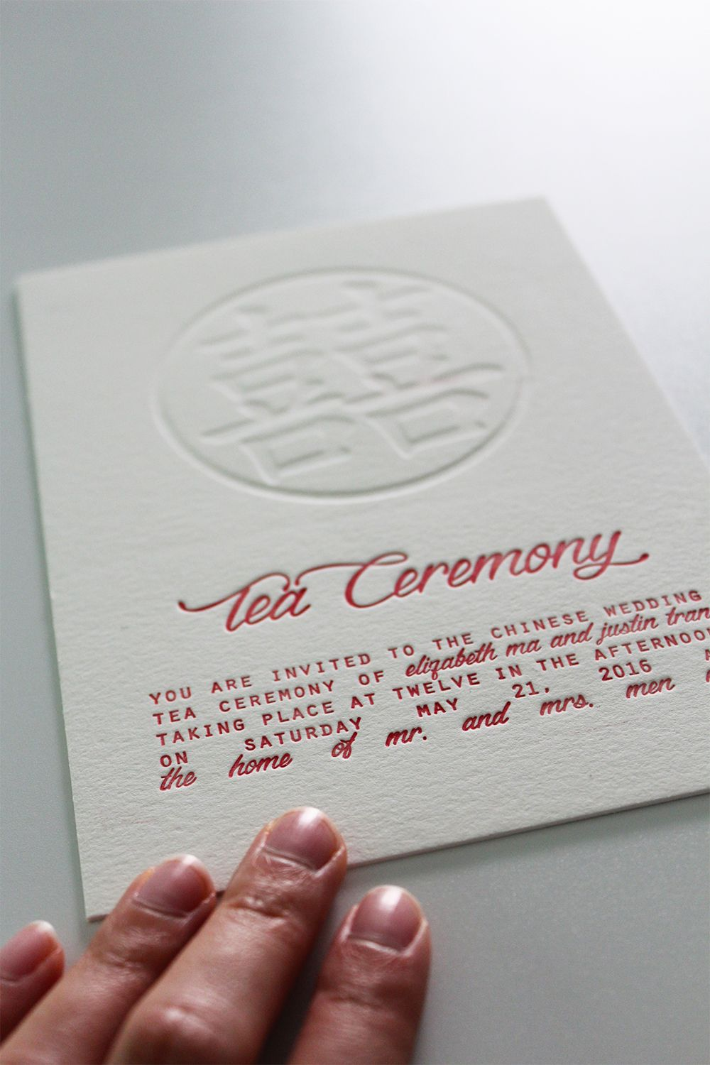 Double Happiness Modern Chinese Letterpress Wedding Tea