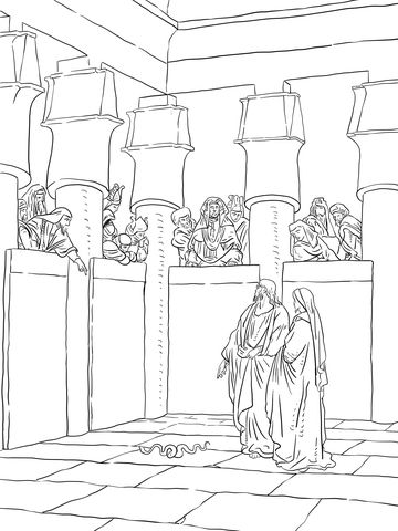 Moses and Aaron Appear Before Pharaoh Coloring page | Bijbel: Mozes ...