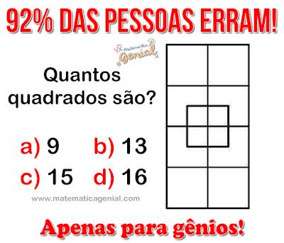 Teste Para Genios Quantos Quadrados Sao Desafios De Matematica
