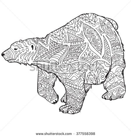 stock vector hand drawn coloring pages with polar bear zentangle