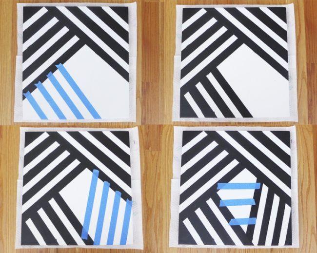 Bilder selbst gestalten wanddeko geometrisch schwarz weiss for Wanddeko selbst gestalten