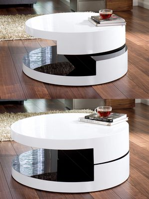 Magia round swivel coffee table white and black Buy Magia round