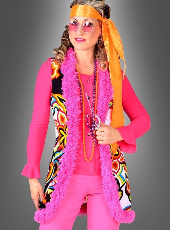 98-146 buntes Hippie Kleid mit Schlagärmeln 70er Jahre Party Kostüm Mädchen Gr