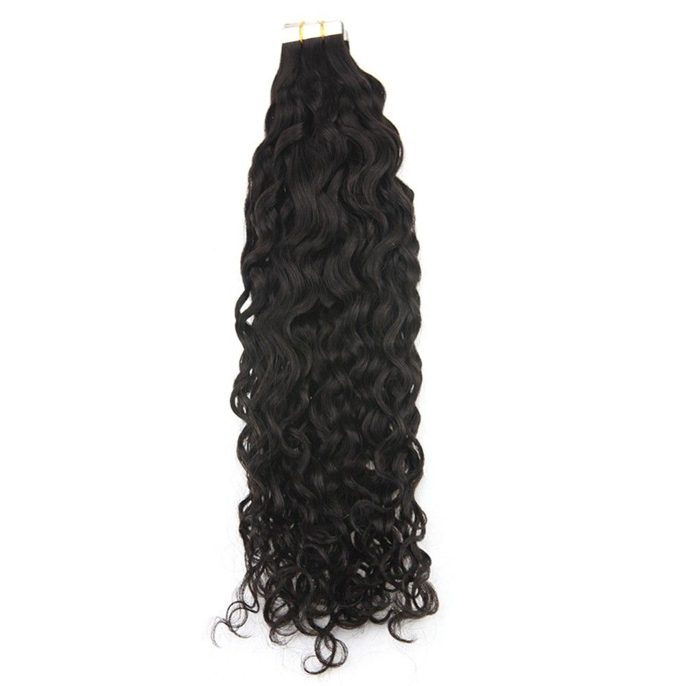 Black Wavy Tape-In Remy Human Hair Extensions Set #humanhairextensions