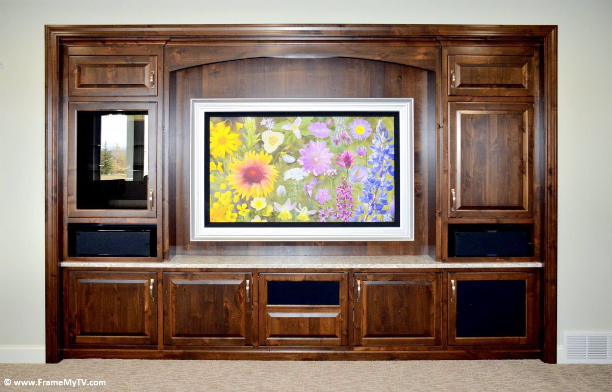 60 Tv With Motorized Custom Artwork Frame Baroque Silver