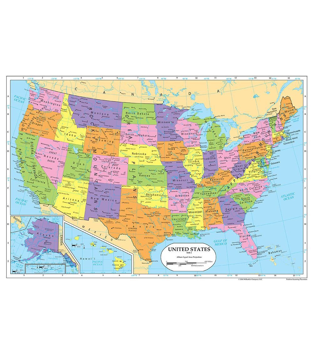 Painless Learning Laminated Placemat-United States ...