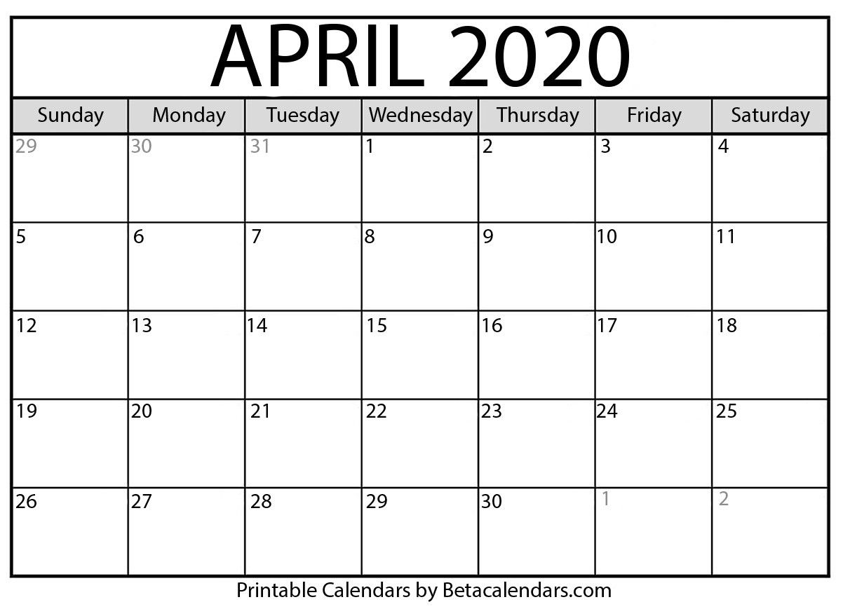 April 2020 Calendar In 2020 With Images Monthly Calendar