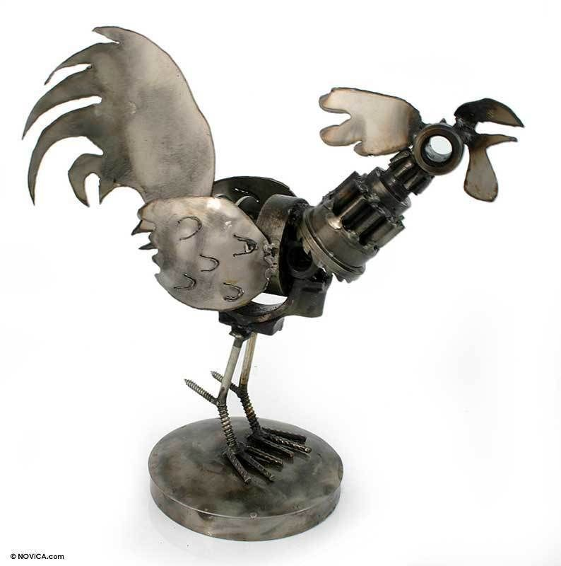 Aluminum Ermaksan Working Mexico: RUSTIC ROOSTER Mexican RECYCLED Metal ART Sculpture NEW