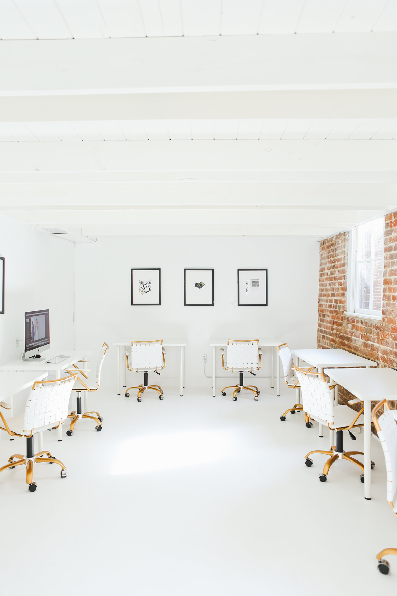 White black and gold modern coworking office