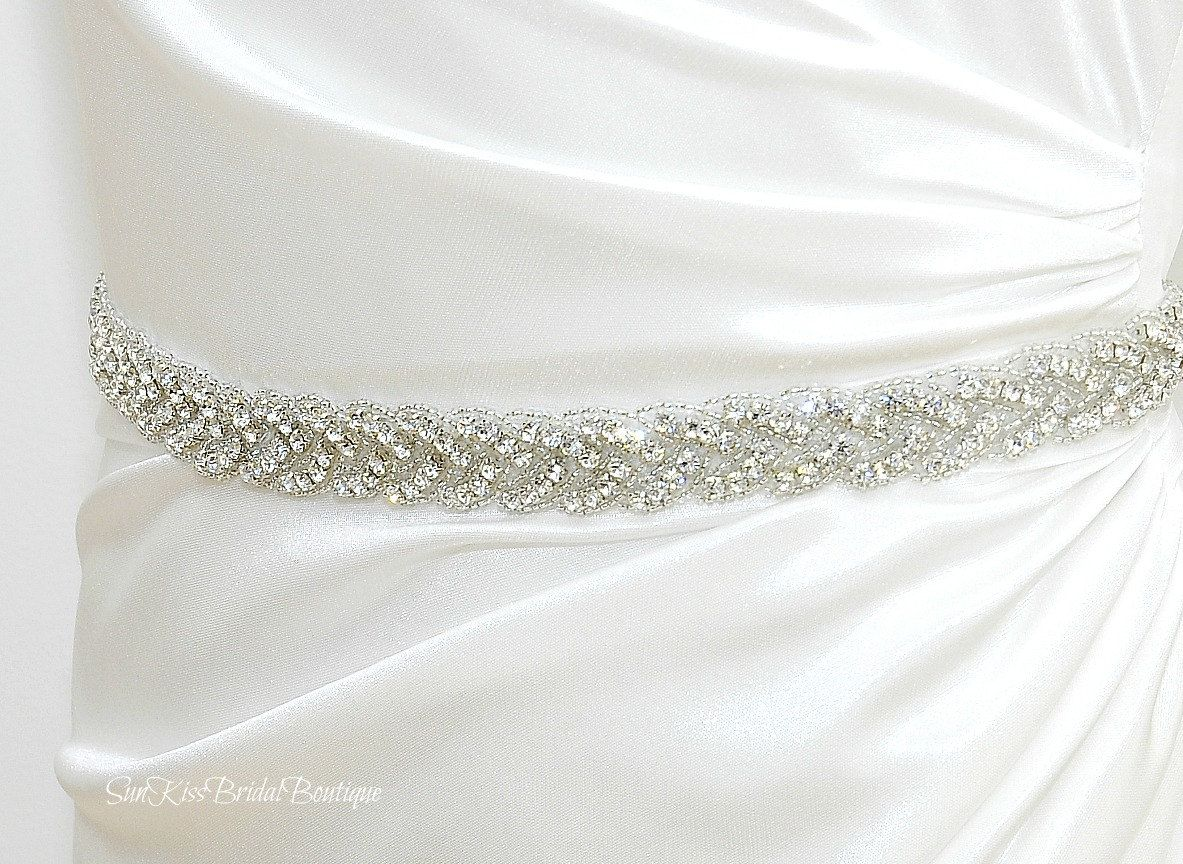 BRIE Braided Rhinestone Bridal Sash,Beaded Crystal Sash,Bridesmaids ...