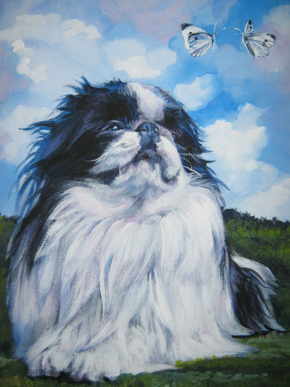 Anese Chin Dog Art Portrait Canvas