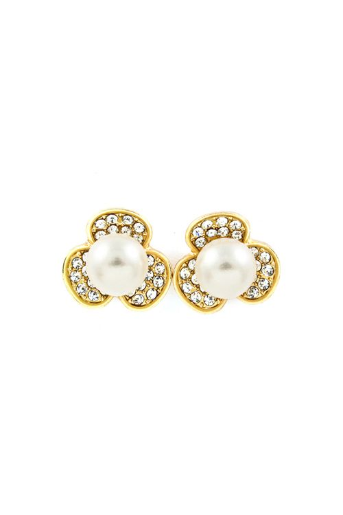 Crystal Daisy Earrings in Gold