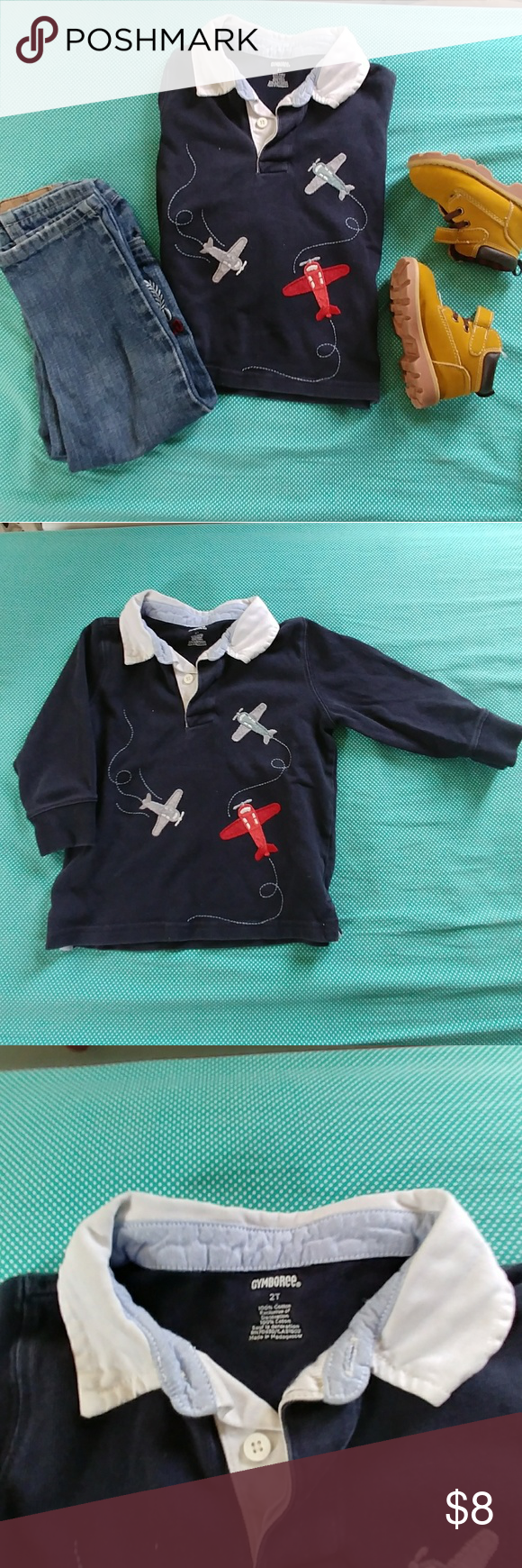 Airplane collar top Cute airplain themed top Gymboree Shirts & Tops Polos