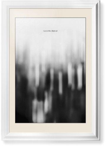 Black and White Bokeh Framed Print, White, Classic, Black, Cream, Single piece, 20 x 30 inches