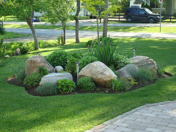 Mix Landscape Bed With Large Rocks Large Yard Landscaping Rock
