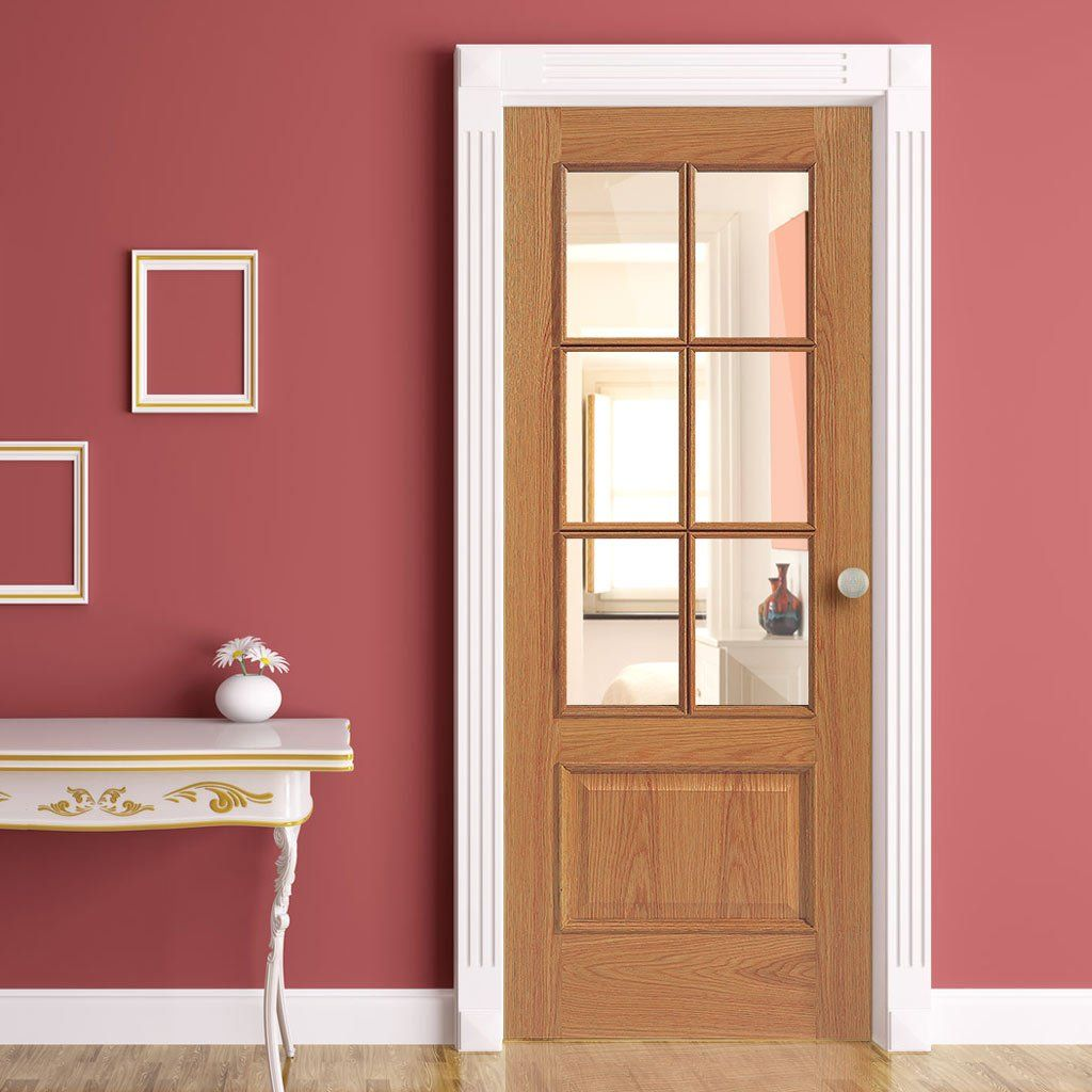 Jbk Rt 12 6vm Oak Door Is 1 2 Hour Fire Rated With Clear Fire Glass Glazed Fire Doors Oak Doors Oak Doors With Glass