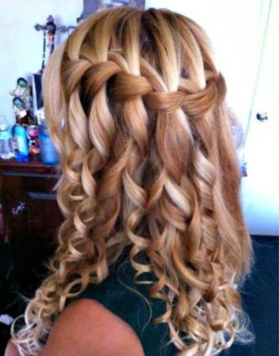 Awesome Long Curly Brunette Homecoming Hairstyle Hair Styles Long Hair Styles Waterfall Braid Hairstyle