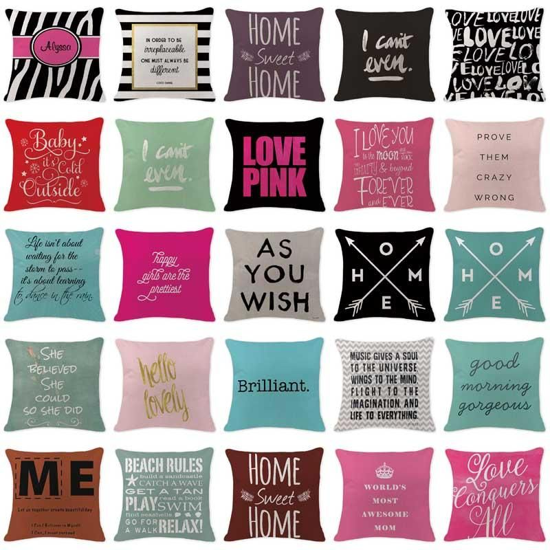 Rustic Farmhouse Style Bright Colored And Fun Sayings Decorative Pillow Covers Rustic Home Decor Cheap Cushion Cover Designs Blue Pillow Cases