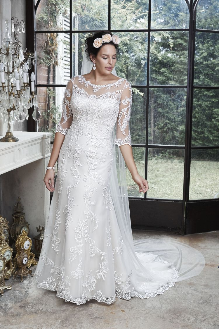 Verina a dramatic illusion lace back and illusion sleeves adorn