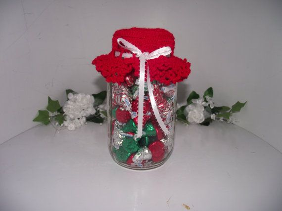 Crochet Red Christmas Jar Lid Cover With Ribbon By Jamoe On Etsy Christmas Jars Jar Lid Cover Jar Lids