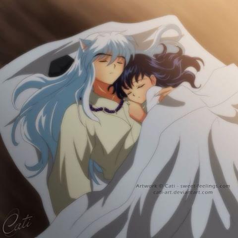 Inukag Inuyasha Kagome Couple Cute Sleep Cuddling