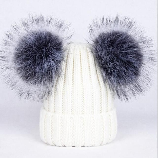 d60548f5dec5c 2017 New 2 Pom Poms Fur Ball Winter Cap Skullies Beanies Winter Hat For Women  Girl  S Hat Knitted Cotton Thick Female Warm Hat