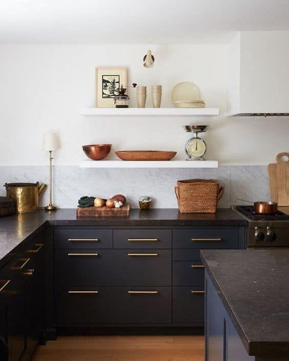 Cocinas Combinadas En Dos Colores 35 Ideas Cocinas De Casa Cocinas Negras Diseno De Cocina