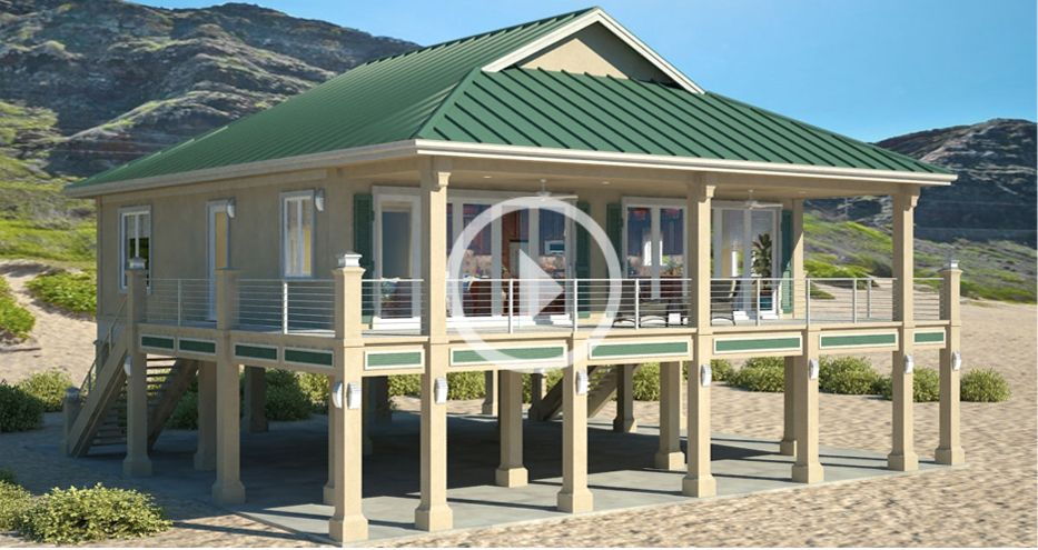 Clearview 1600p 1600 sq ft on piers beach house plans for Elevated key west style house plans