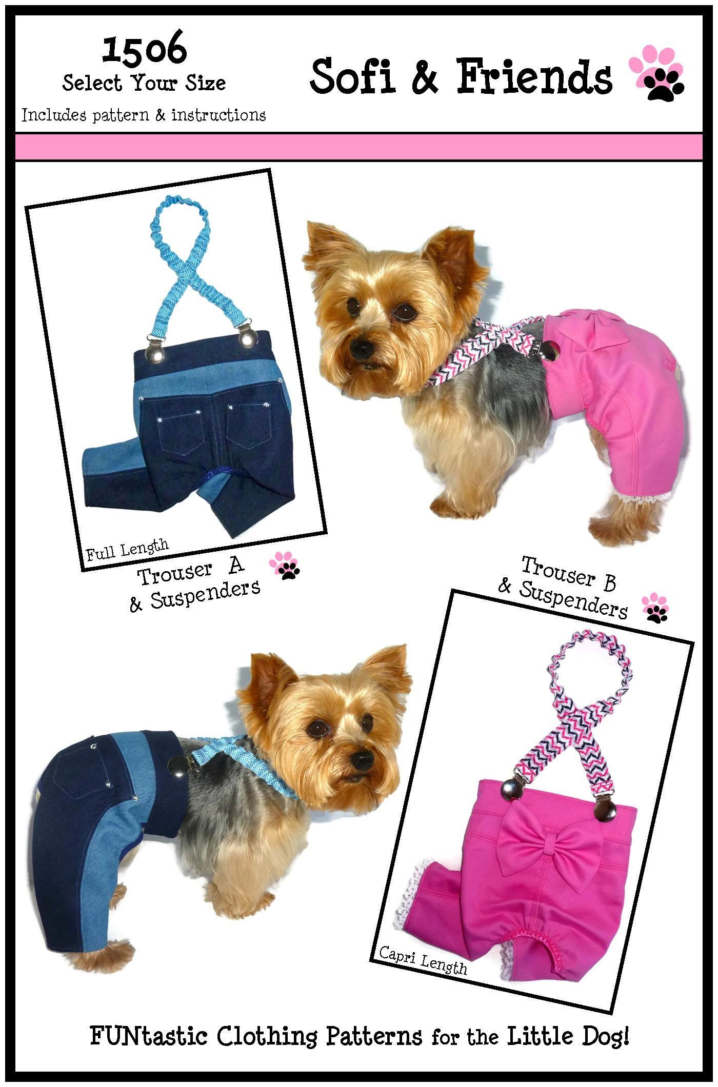 Dog jeans pattern 1506 bundle 3 sizes dog clothes pattern dog clothes sewing pattern 1506 trouser suspenders for the little dog 825 jeuxipadfo Image collections