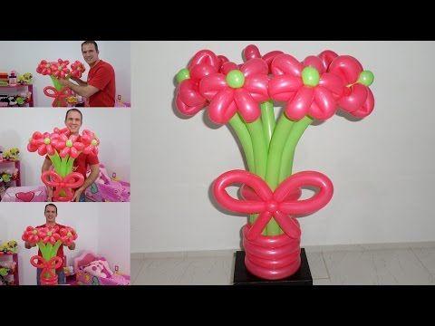 Como hacer un ramo de flores con globos globoflexia - Como hacer decoracion con globos ...