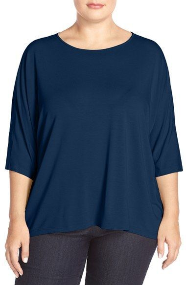 f63614104211c Eileen Fisher Three-Quarter Sleeve Jersey Top (Plus Size)