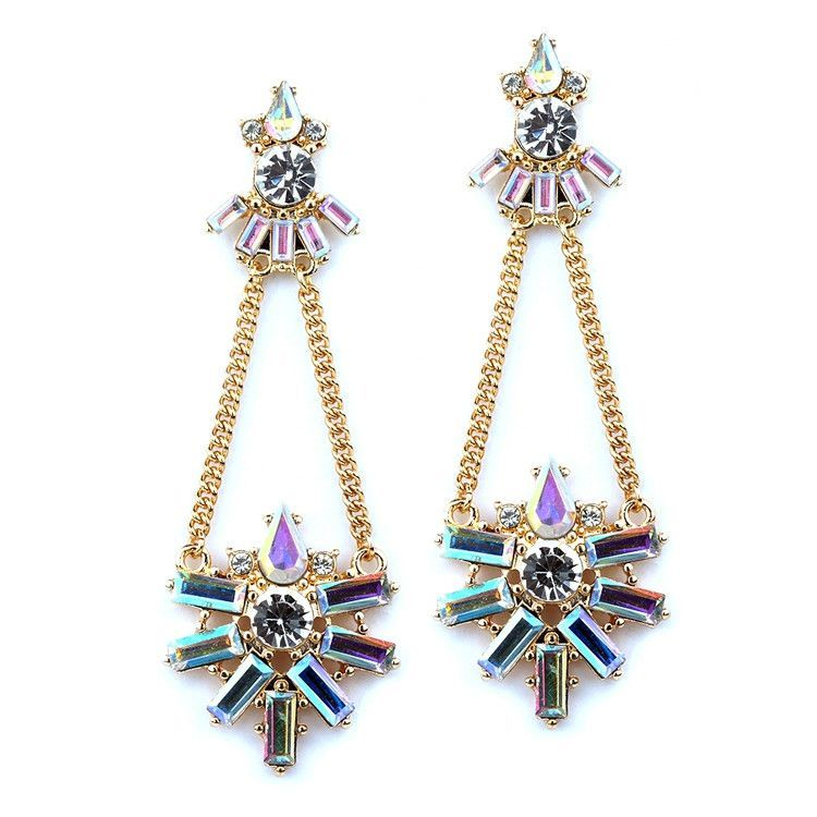 Art Deco Chain Earring with Iridescent Baguettes
