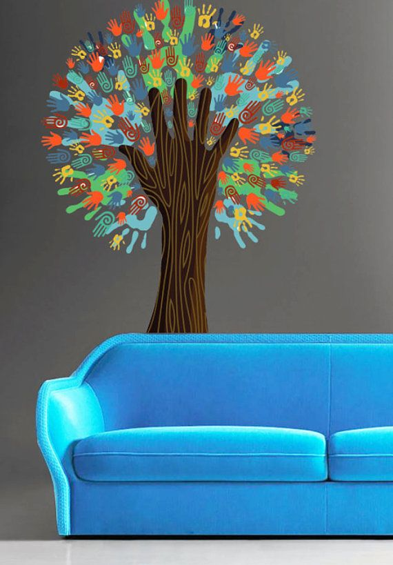 Colorful Hand Tree Color Tree Nature Full Color Wall