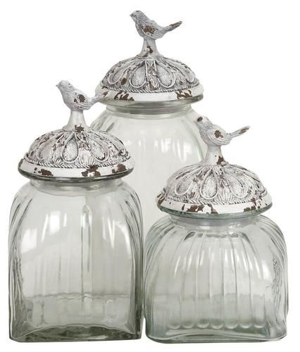 Lovely Set Of 3 Decorative Glass Jars With Polystone Bird Lid Clear Kitchen  Canisters | EBay