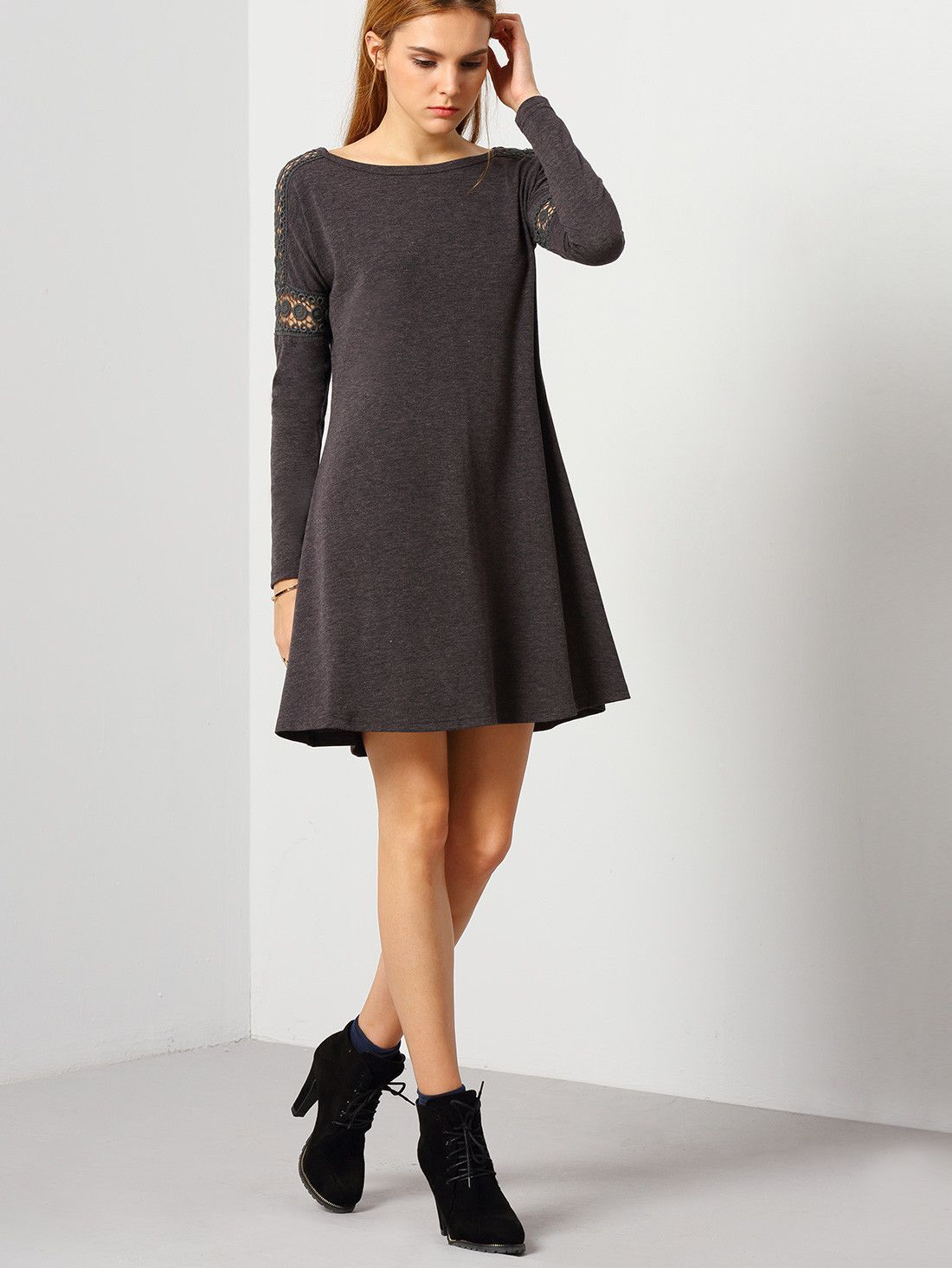 Grey round neck casual dress dresses pinterest rounding gray