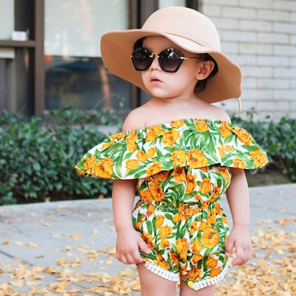 Fashion Kids Toddler Baby Girls Off Shoulder Romper Jumpsuit Outfits Playsuit UK