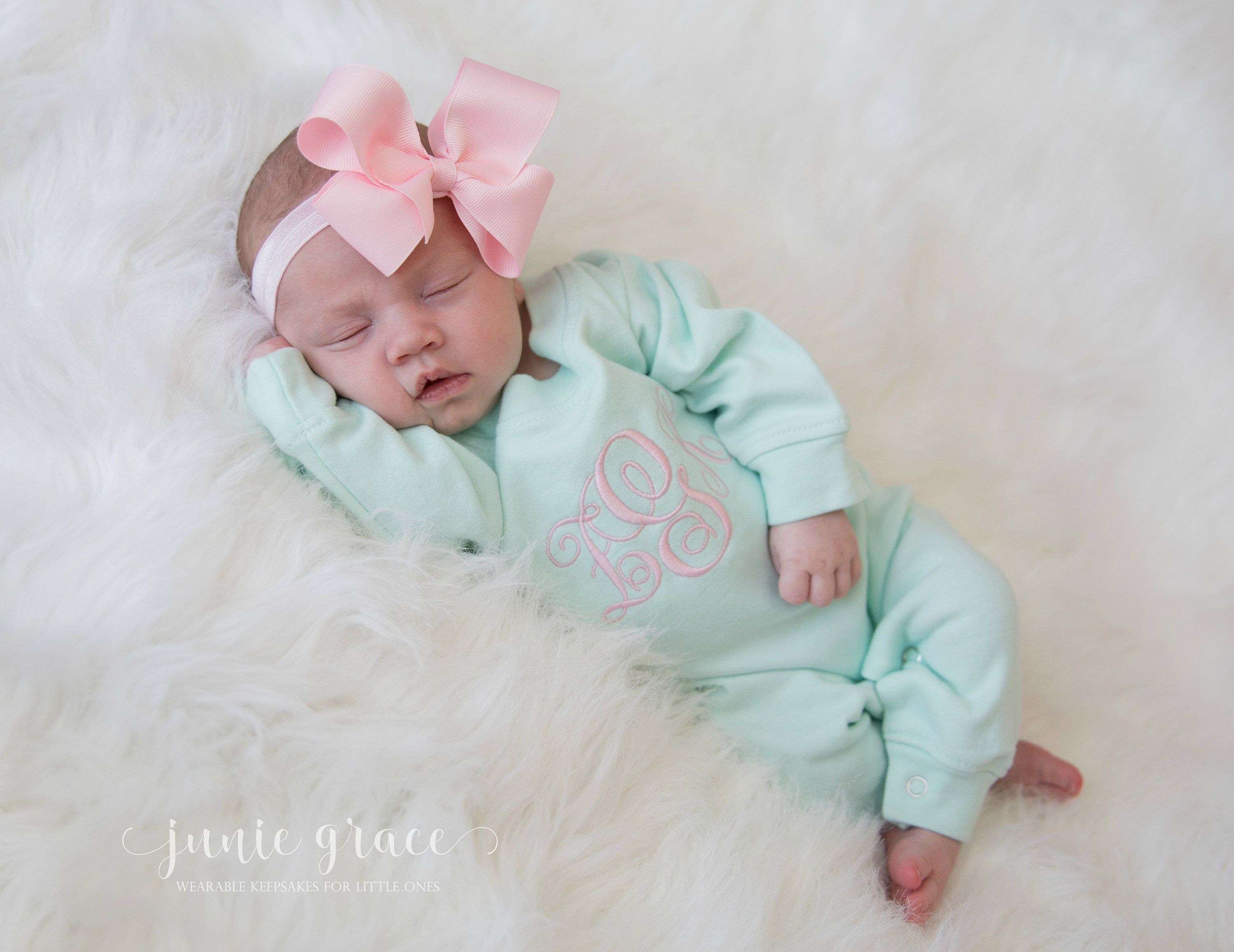 Personalized Tiara Monogrammed Sleeper Romper and Hat Set size 0-3 Month