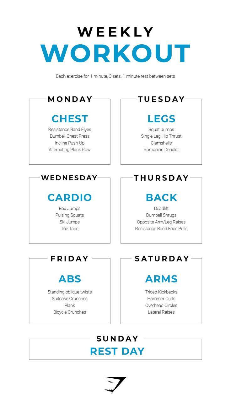 Workout all week with the Weekly Workout from Gymshark. Be sure to train your full body with a speci...